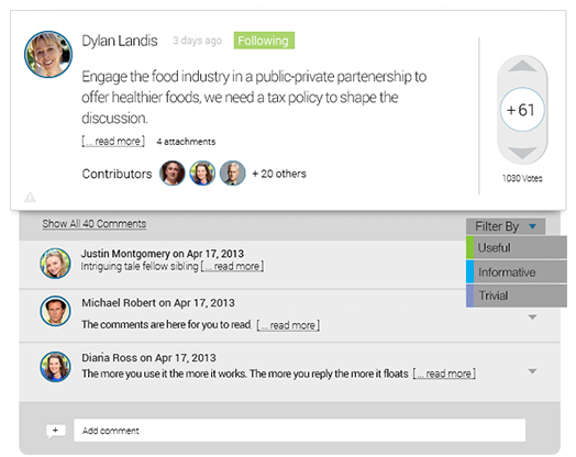 Highlight the best ideas and most useful comments by peers