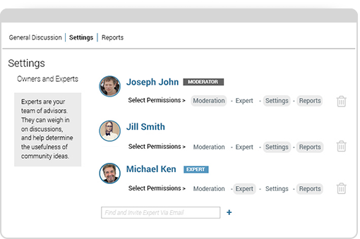 Assign experts and moderators to your idea discussions