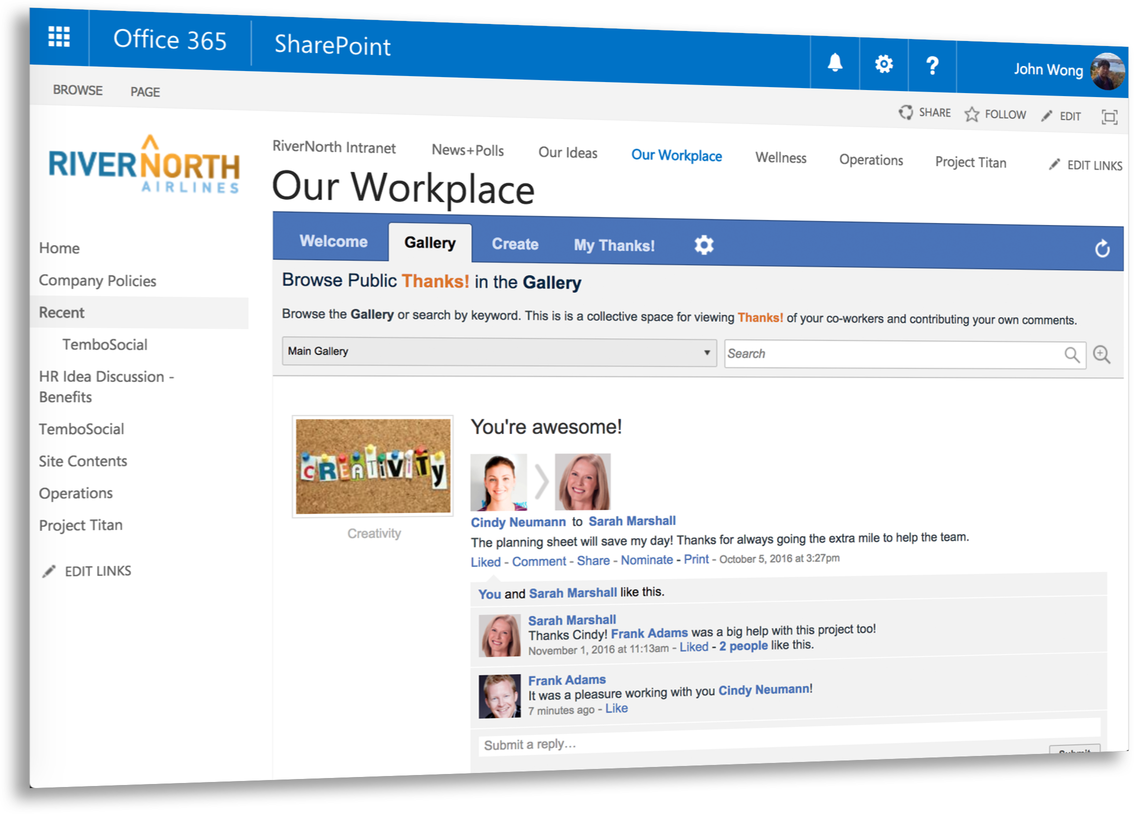 TemboSocial Recognition for SharePoint and Office 365