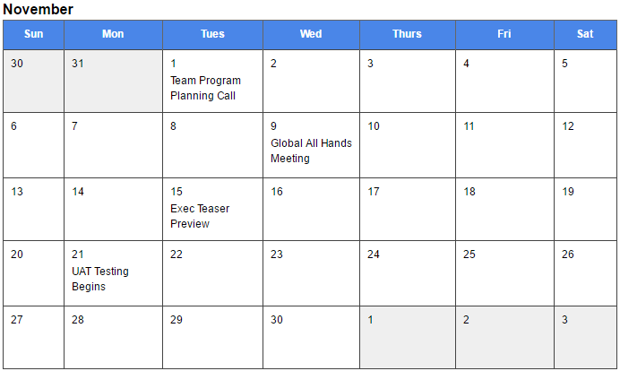 Calendar Template for Employee Recognition launch | TemboSocial