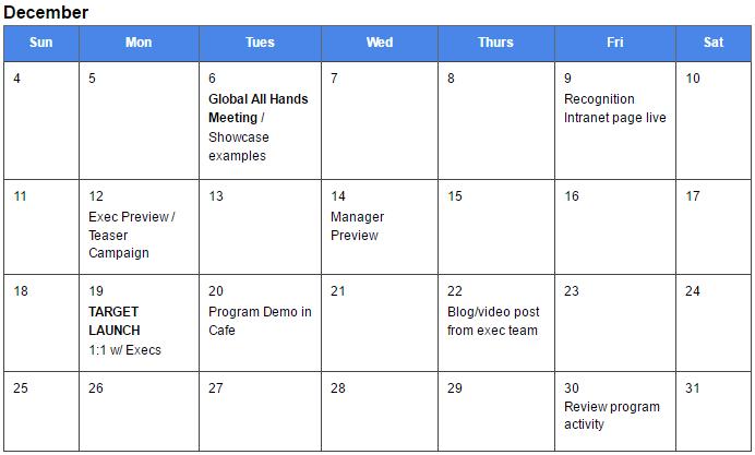 Calendar Template for an Employee Recognition launch | TemboSocial