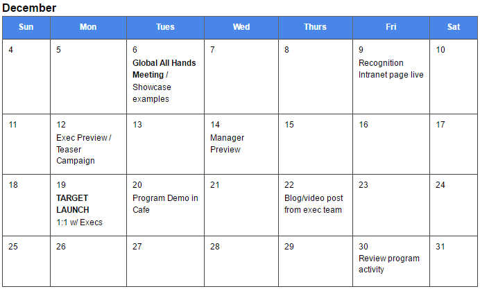 Calendar Template for an Employee Recognition launch | TemboSocial