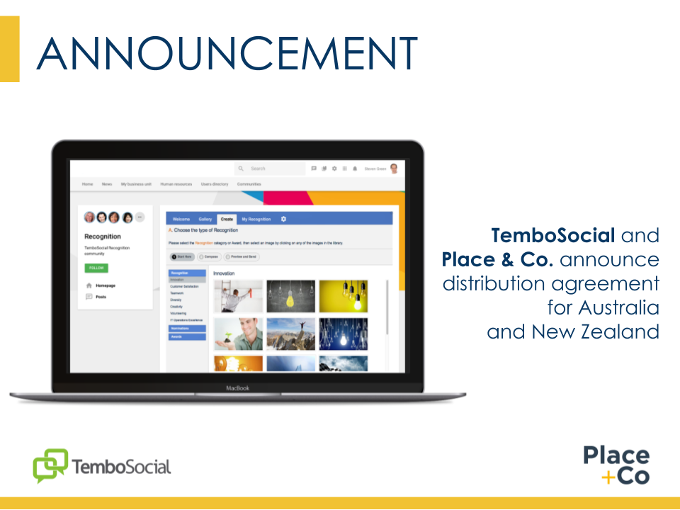 TemboSocial and Place & Co. Announce Exclusive Distribution Agreement for Australia and New Zealand